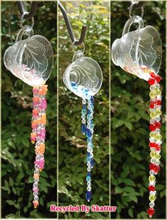 Punch Cup Sun Catchers - DIY with thrifted cups and jewelry beads - these would be fun scattered around at a garden tea party