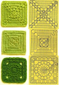 Gráficos de porta copos quadrados de crochê - Vix