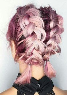 Pretty Holiday Hairstyles Ideas: Double Dutch Braids for Short Hair Beauty: Fantasy Unicorn Purple Violet Red Cherry Pink yellow Bright Hair Colour Color Coloured Colored Fire Style curls haircut lilac lavender short long mermaid blue green teal orange hi Braids For Short Hair, Cute Hairstyles For Short Hair, Pretty Hairstyles, Hairstyle Ideas, Trendy Hair, Hair Ideas, Rose Hairstyle, French Hairstyles, Loose Braids