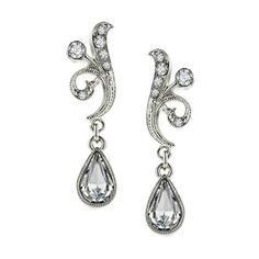 Bridal Crystal Fancy Drop Earrings ($32) ❤ liked on Polyvore