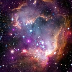 This Small Magellanic Cloud is considered as a dwarf irregular galaxy. It has a diameter of about 7,000 light-years and contains several hundred million stars. This cloud is very small compared to the Milky Way, our 100,000 light years galaxy.