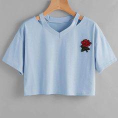 254a49cd99d Womens Summer Kawaii Embroidery Rose T-Shirts Casual Tees