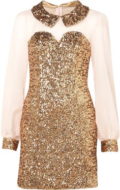 Topshop Gold Sequin Shift Dress By Rare