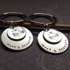 His and Hers Matching Couples 10 Year Anniversary Custom Hand Stamped Dime Keychains, Personalized Gift for Him, Her, Year Wedding Date 10th Wedding Anniversary Gift, 10 Year Anniversary, Personalised Gifts For Him, Personalized Items, Christmas Gifts For Mom, Copper And Brass, Matching Couples, Birthstone Charms, Metal Stamping