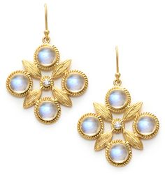 Quatre Moonstone & Diamond Earrings in 18k Yellow Gold