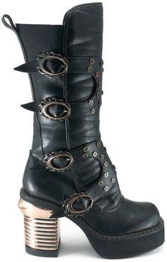 HADES HARAJUKU Brown Black Flame Buckles Steampunk Sky Captain Gothic Knee Boots | eBay