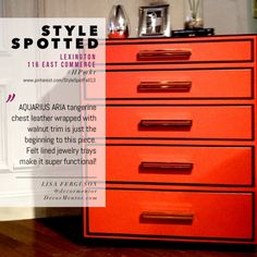 Lexington LOVE Aria tangerine leather chest with walnut trim and felt jewelry liner Furniture Market, Cool Furniture, High Point North Carolina, North Carolina Furniture, Lexington Home, High Point Market, Designer Friends, Jewelry Tray, Color Trends