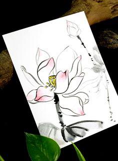 Pure Lotus Flowers Original Painting Drawing by PadmaZenArt