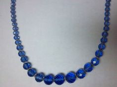 Vintage Czech? Art Deco round blue faceted glass graduating beaded Necklace 80g #StrandString