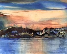 Evening 9 / Abstract Landscape Ocean Painting by KarenWysopalArt
