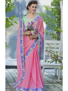 Decorous Baby Pink and Tuquoise Designer saree