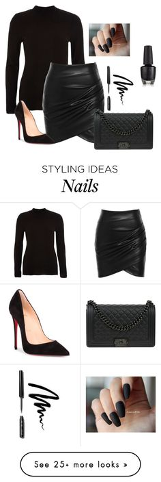 """All Black "" by giulia-ostara-re on Polyvore featuring River Island, Chanel, Bobbi Brown Cosmetics and Christian Louboutin"