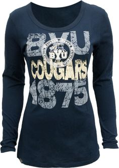 Jansport Ladies Fitted Cougar Over BYU Navy BYU  Long Sleeve T-Shirt