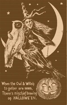 Vintage Halloween Costumes Witch with owl on moon rubber stamp Cling Moun Retro Halloween, Halloween Fotos, Vintage Halloween Images, Vintage Halloween Decorations, Halloween Pictures, Holidays Halloween, Spooky Halloween, Halloween Crafts, Halloween 2018