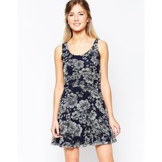 Wal G Skater Dress In Dark Floral Print ($33) ❤ liked on Polyvore featuring dresses, navy, navy white dress, flower print dress, white skater dress, floral skater dress and tall dresses