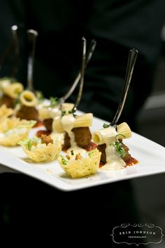 Caesar Salad in Parmesan Cup, Pasta & Meatball Forks by D'Amico Catering, via Flickr
