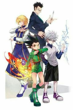 Hunter x Hunter gon Freecs killua zoldyck Leorio and kurapika Hunter, Anime Group, Killua, Hunter Anime, Hunter X Hunter, Anime Fan, Cartoon, Anime Characters, Manga