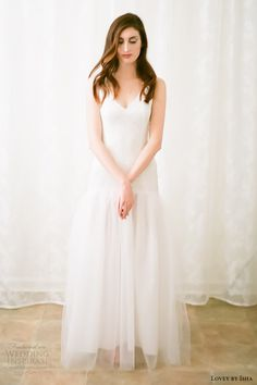 lovey by isha bridal spring 2016 sleeveless vneck drop waist mermaid wedding dress (08) mv romantic