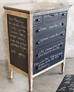 Read about whimsical and fun DIY ideas for painting furniture from decoupage, doily design, ombre, chalkboard, and more.