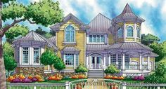 LINDA Alexandre Home Plan -Front Elevation l Sater Design Collection l Two Story House Plans