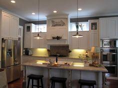 Windows above cabinets! Via My Romantic Prairie Home Jenny's Kitchen, Above Kitchen Cabinets, Upper Cabinets, Kitchen Decor, Kitchen Ideas, Pantry Ideas, Kitchen White, Cupboards, Modern Kitchen Design