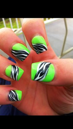 Lime green and black zebra