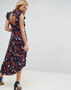 ASOS Maxi Tea Dress with Cut Out Back Detail in Grunge Floral Print