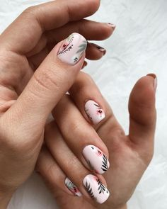 5 Unavoidable Floral Nail Art for Short Nails : Take a look! Your short nail deserves some amazing nail art design and Color. So, regarding that, we have gathered some lovely Floral Nail Art for Short Nail suggestions only for you. Spring Nail Art, Spring Nails, Summer Nails, Short Nail Designs, Cute Nail Designs, Flower Nail Designs, Gel Designs, Green Nail Designs, Nail Designs Spring