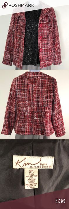 Kim Rogers Multi-Color Tweed Blazer Chic and versatile. Large buttons for convenience. Gently used. Kim Rogers Jackets & Coats Blazers