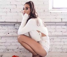 2017 New Spring Women Lace Up Sweaters and Pullovers Lady Solid O neck Knit Crop Sweater Jumper Fluffy Mohair Sweter Mujer