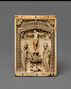 Icon with the Crucifixion Mid-10th century Geography:Made in probably Constantinople Byzantine Ivory Dimensions:Overall: 5 15/16 x 3 1/2 x 5/16 in. (15.1 x 8.9 x 0.8 cm) Credit Line:Gift of J. Pierpont Morgan, 1917 Accession Number:17.190.44