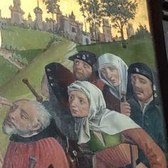 Pilger auf einem Tafelgemälde aus dem ehem. Lüneburger  Kloster Heiligenthal (heute in St. Nicolai, Lüneburg), Mitte 15. Jh.
