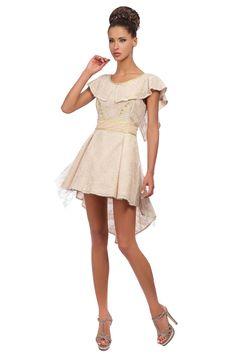 Robe jeu de longueur en voile de coton et dentelle rose poudré #RobeDeCocktail