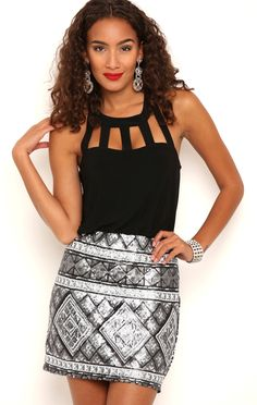 Deb Shops Sequin Blouson Dress with Cage Neckline $27.00