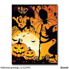 Schwarze Halloween Katze mit dem Schädel Postkarte
