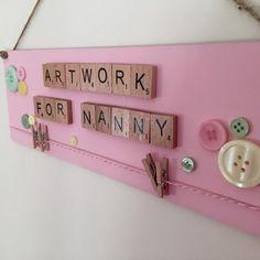 Personalised grandparents gift- Children artwork sign 'washing line' for grandparents/nanny/nanna/grandad. Grandparents day