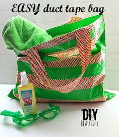 DIY beautify Duct Tape Beach Bag tutorial