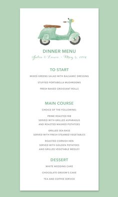 Vespa Scooter Wedding Menu Card by Leveret Paperie