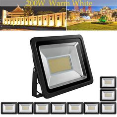 10X US Stock! 200W LED Floodlight Warm White Bright IP65 Outdoor Path Waterproof