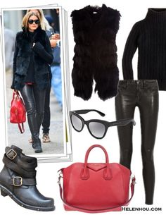 maxstudio WOVEN FUR VEST-M-BLACK, J.Crew CAMBRIDGE CABLE CHUNKY TURTLENECK SWEATER, J Brand leather skinny legging, Givenchy ANTIGONA MEDIUM SUGAR GOATSKIN SATCHEL BAG, Jeffrey Campbell BRIT WRAP STRAP BOOTIES, Marc by Marc JacobsROUNDED CAT EYE SUNGLASSES,