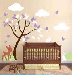 Tree Wall Decal For Baby Room With Animals And Clouds