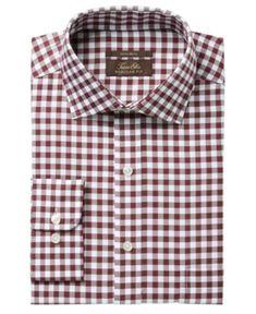 Tasso Elba Men's Regular Fit Non-Iron Burgundy White Bold Herringbone Gingham Dress Shirt, Created for Macy's - Burgundy 1