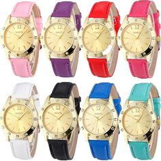 Fashion Women Gold Dial Crystal Diamond Leather Analog Quartz Wrist Watch