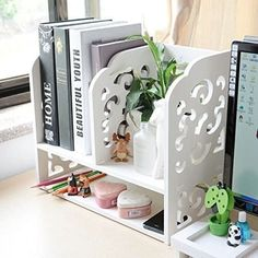 Pretty spacious book shelf is the chic desk organization tips for crafty dorm hacks. desk areas Chic Desk Organization Tips That Will Make Your College Life Better Desk Organizer Shelf, Desk Organization Tips, Desktop Organization, Storage Hacks, Organizing, Desktop Storage, Bedroom Organization, Shabby Chic Office, Shabby Chic Homes
