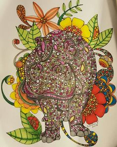 Hippo design by Valentina Harper colored by Vicki Patterson using markers and pencils from her book Creative Colorings Animals.
