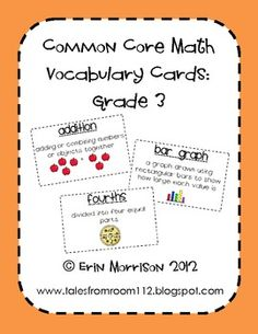 Common Core Math Vocabulary Cards- perfect for a math vocab wall!