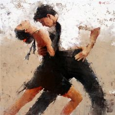 Tango is a very intimate and passionate dance. Watching the dancing couple in this art work evokes strong emotions and sensual impression on the audience.