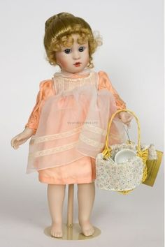 Teatime for Emma - Georgetown Collection limited edition porcelain wax over collectible doll  by doll artist Brigitte Deval.