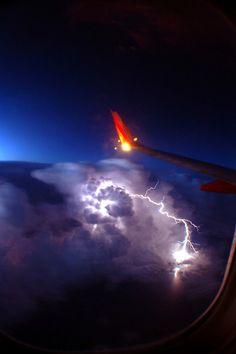 Plane views from my window seat - Lightning, wow
