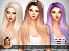 S-Club Belle Hair Retexture by SimplyPixelated by TSR for The Sims 4